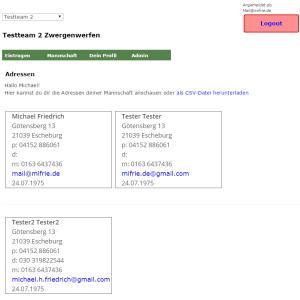 Adressliste der Teamverwaltung