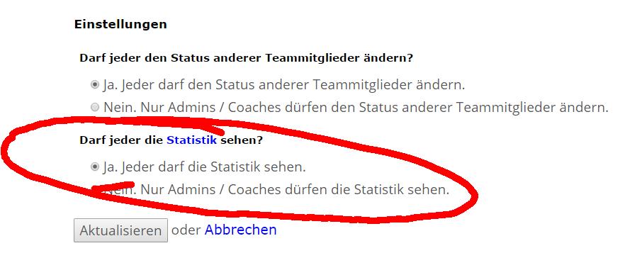 Einstellungen Team-Statistik